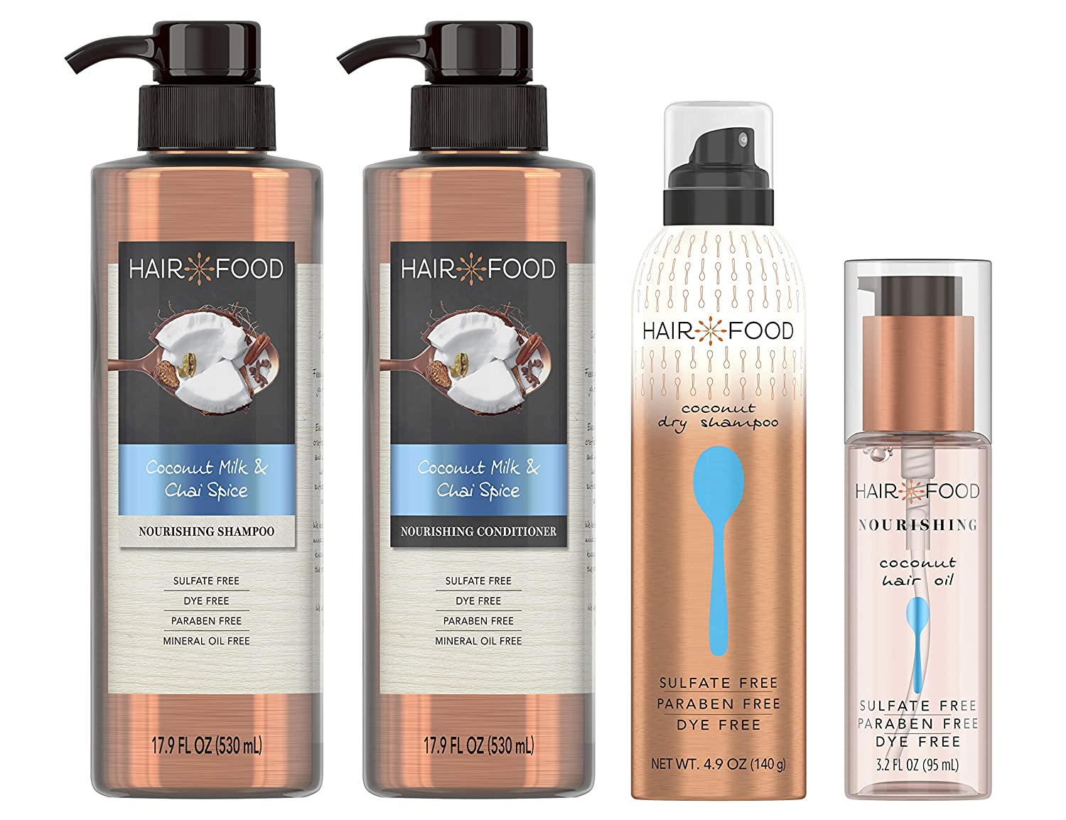 Hair Food Sulfate Free Nourishing Shampoo and Conditioner with Hair Oil + Dry Shampoo, Coconut Milk & Chai Spice, Dye Free, Bundle