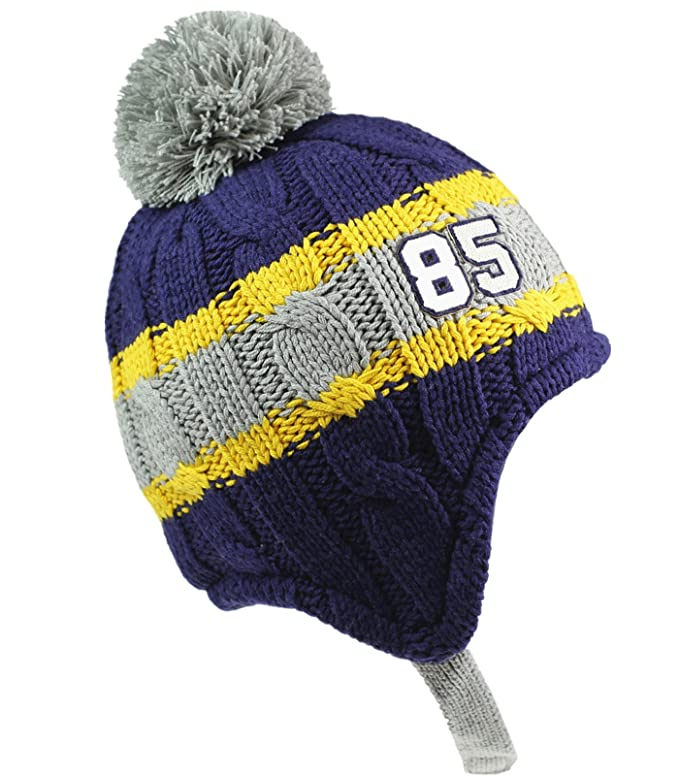 bff53e2d21fbd Amazon.com  Connectyle Toddler Kids Warm Fleece Lined Knit Winter Hats Pom  Pom Striped Beanie Hat with Earflap  Clothing