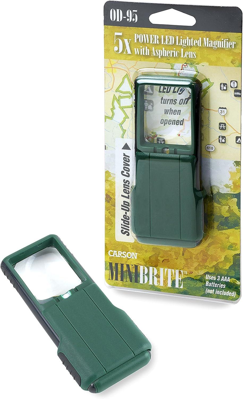 Carson MiniBrite 5x Lente dingrandimento tascabile con luce LED integrata e custodia scorrevole