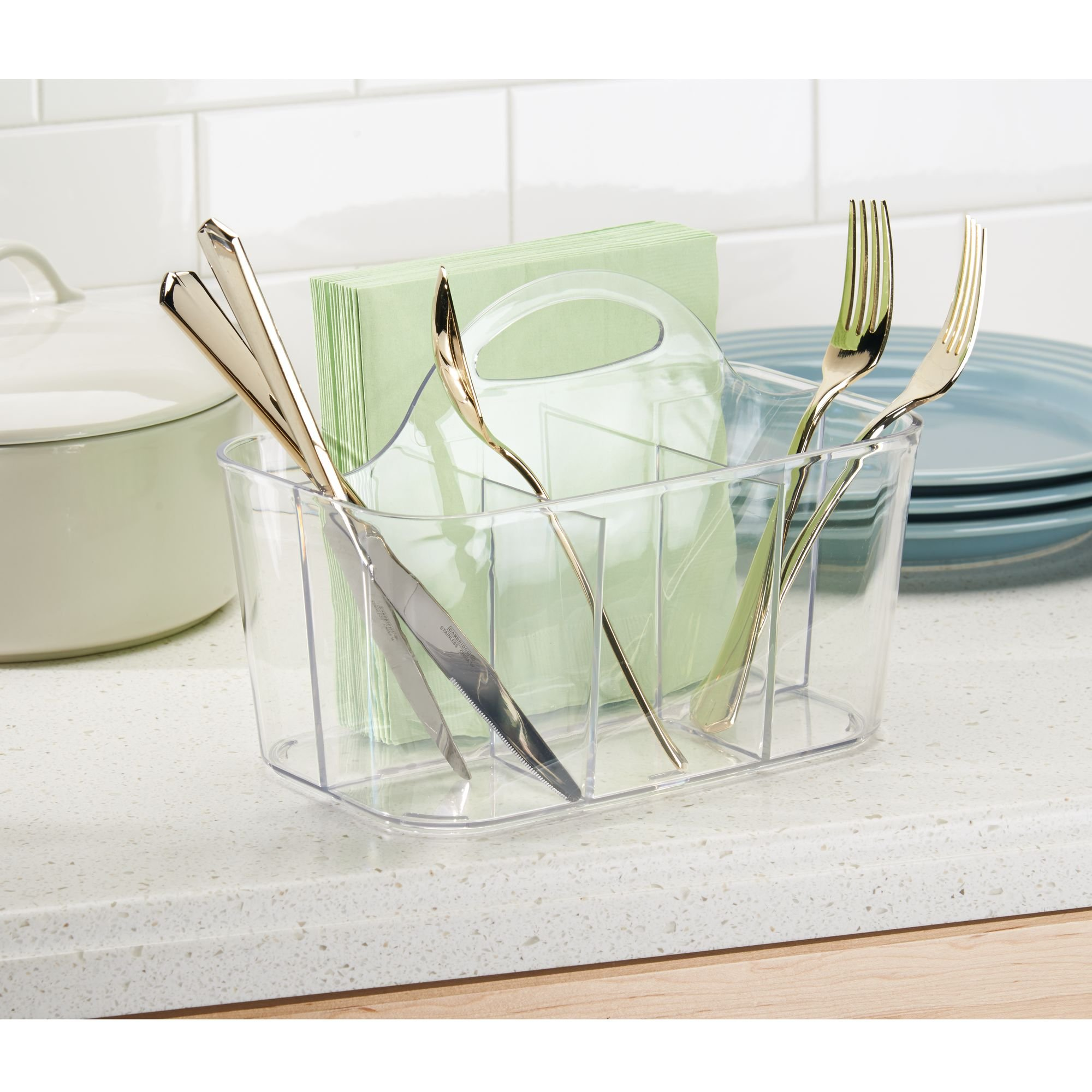 InterDesign Clarity Cutlery Flatware Caddy, Silverware, Utensil, and Napkin Holder - Clear by InterDesign (Image #3)