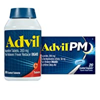 Advil 200 Mg Ibuprofen, Pain Reliever and Fever Reducer - 300 Caplets + Advil PM 25 Mg Diphenhydramine, Sleep Aid and Nighttime Pain Reliever - 20 ct