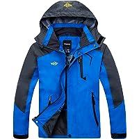 Wantdo Men's Classic Front-Zip Waterproof Rain Jacket with Detachable Hood