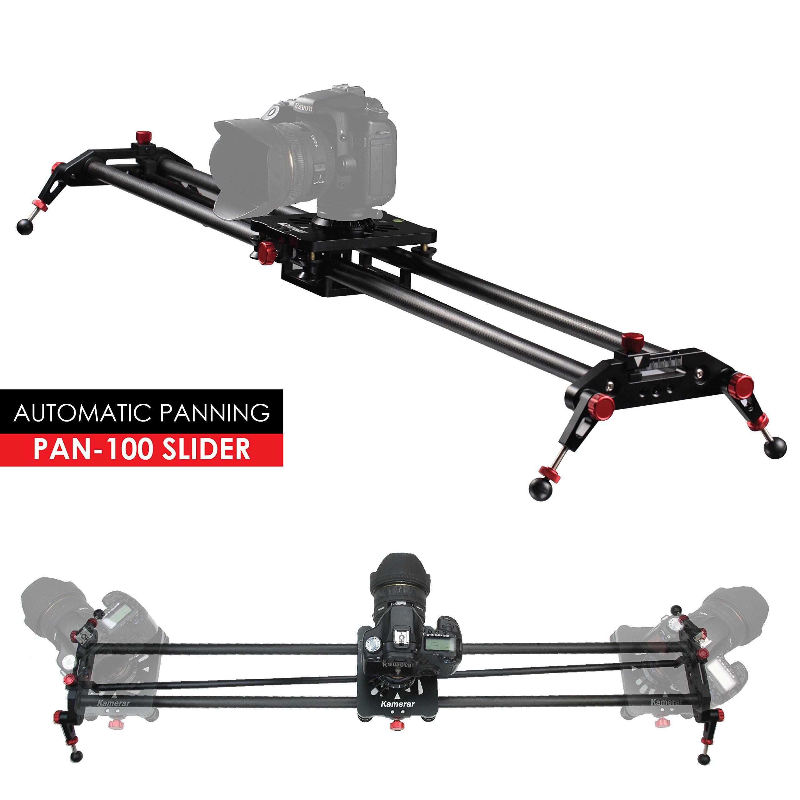 Kamerar 39.4 inch / 100 cm Pan-100 Track Motion Rail Stabilization DSLR Camera Slider: Light Carbon Fiber Rail, Adjustable Legs, Angle Follow Focus, Parallax Slide, Panoramic Slide