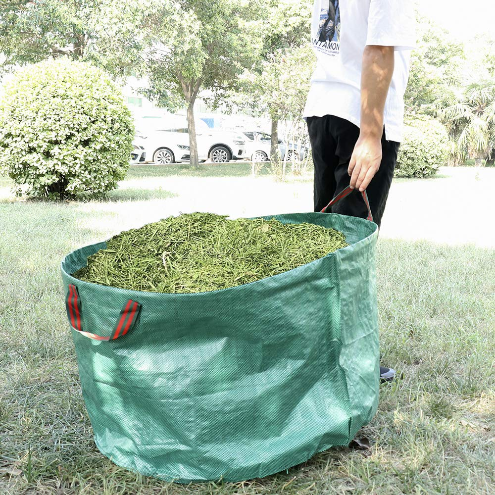 Yugust Lawn and Leaf Bags,2 Pack Garden Waste Bags with Handle 63 Gallons Reusable Collapsible Gardening Trash Bags Garbage Bins Container for Clearing Yard Lawn Pool Leaf Garbage