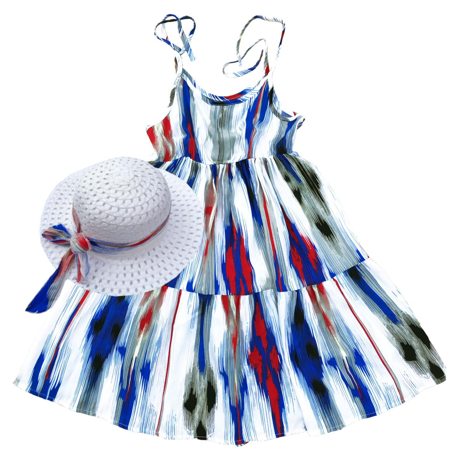 Summer Cotton Dress Cute Colourful Vintage Floral Print Beach Boho Summer Dresses with Sun Hat Sets for Toddler Girls (130(fit heigth49-52), Multicoloured6)
