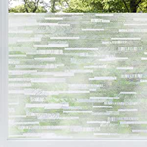 rabbitgoo Privacy Window Film Frosted Matte Window Sticker Static Cling Door Film No Glue Glass Film Window Sticker Anti-UV Glass Film for Home Office Living Room Meeting Room, 44.5 X 200 cm
