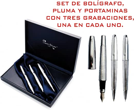 Set de Bolígrafo, pluma, portaminas GRABADOS estuche con 3 bolígrafos PERSONALIZADOS para regalo estuches de escritura: Amazon.es: Hogar