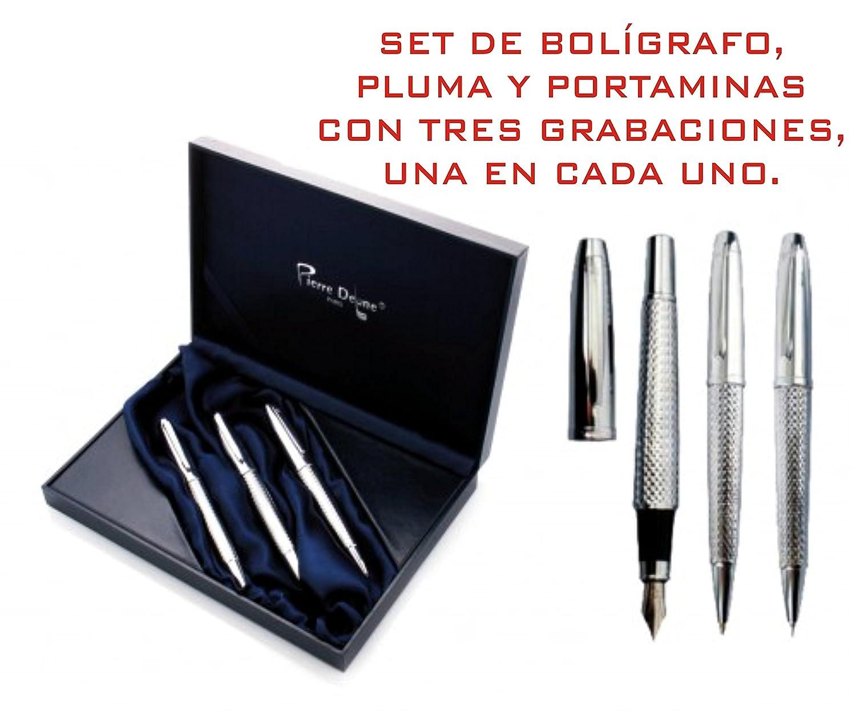 Set de Bolígrafo + pluma + portaminas GRABADOS estuche con 3 ...