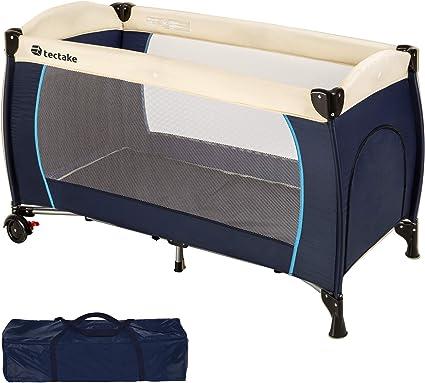 TecTake Cuna de viaje bebe plegable con bolsa de transporte disponible en diferentes colores Azul | no. 402416