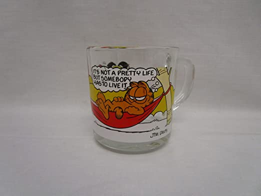 Vintage 1978 McDonalds Garfield Glass Coffee Mug Complete Set of 4 Glasses NEW