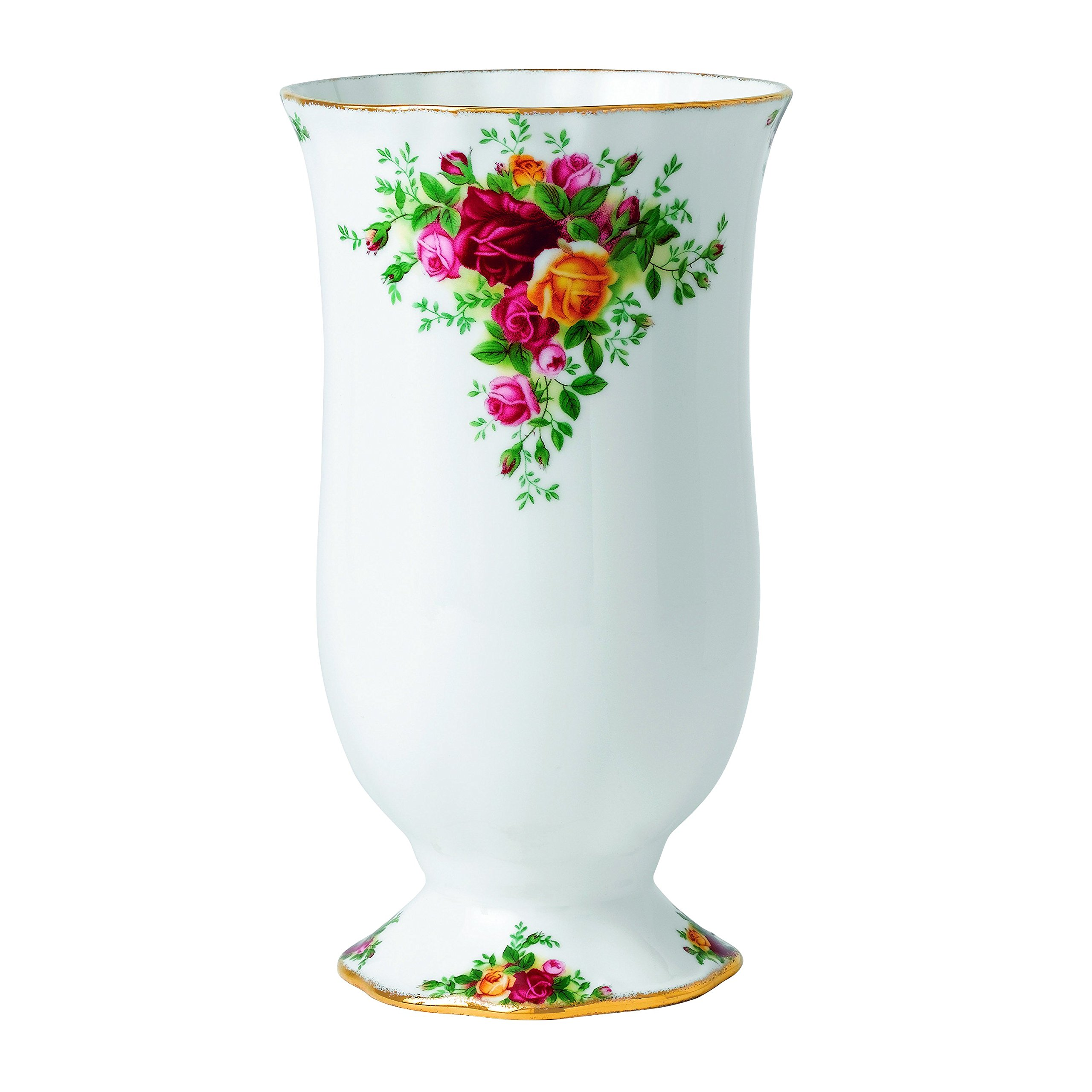 Royal Albert Old Country Roses Large Vase, 8.7-Inch, White
