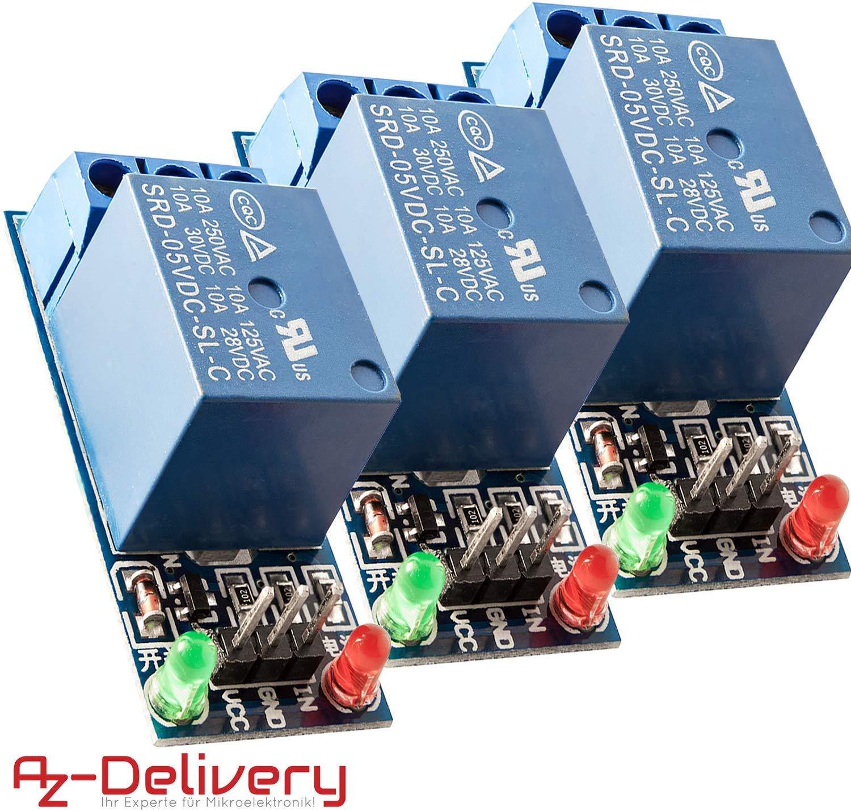 AZDelivery 3 x 1-Rele 5V KF-301 Modulo Low-Level-Trigger para Arduino con E-Book incluido!