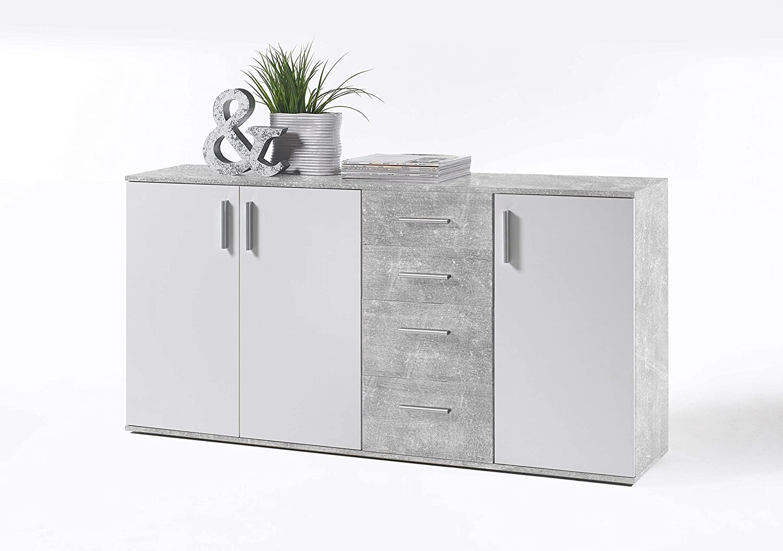 AVANTI TRENDSTORE - Bea - Comò spaziosa con 3 ante e 4 cassetti, in laminato di cemento d'imitazione e di colore bianco, dimensioni: LAP 160x82x35 cm