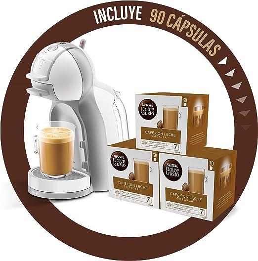 Pack Krups Dolce Gusto Mini Me KP1201 - Cafetera de cápsulas, 15 bares de presión, color blanco y gris + 90 cápsulas de café con Leche: Amazon.es: Hogar
