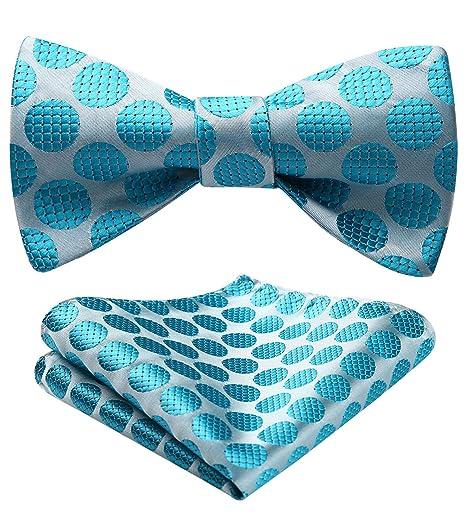 3ab238a2db7c BIYINI Men's Polka Dot Floral Jacquard Woven Wedding Party Self Bow Tie Set  Aqua