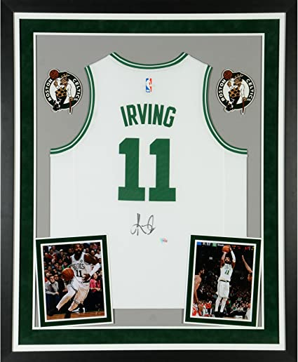 d60e7aaafff Kyrie Irving Boston Celtics Deluxe Framed Autographed Fanatics Fast Break  White Replica Jersey - Fanatics Authentic Certified at Amazon's Sports ...