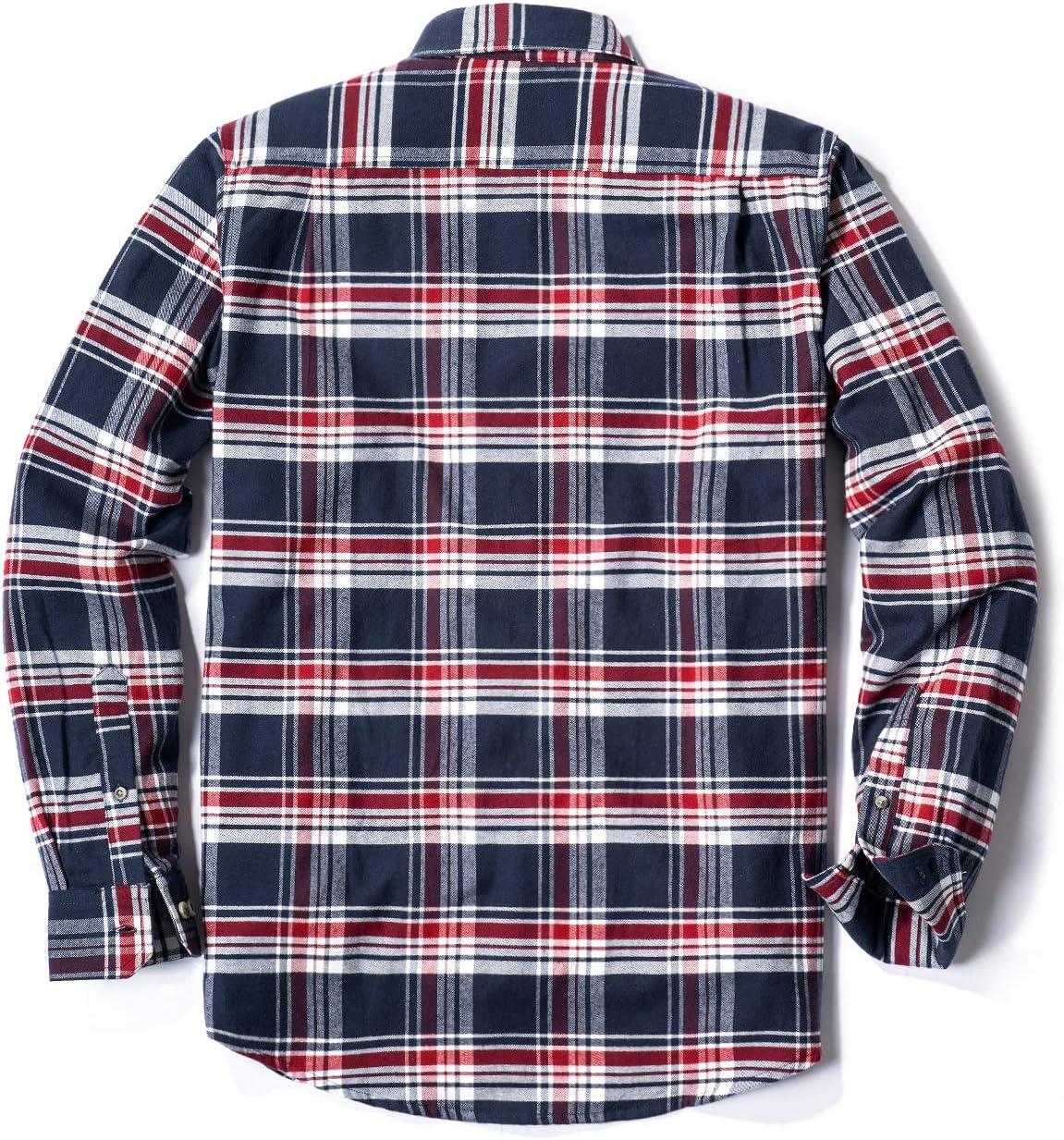 CQR Camisa de franela de manga larga con botones a cuadros, de algodón cepillado, para hombre, XXXL, Plaid Flannel(hof001) - Navy & Red: Amazon.es: Deportes y aire libre