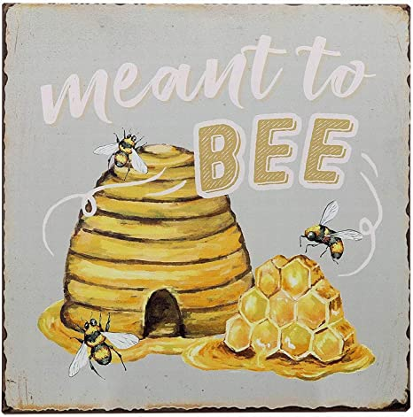 15.5 x 10 Reclaimed Wood Art Decor Rustic Decorative Metal and Wood Bee Hanging Wall Sign