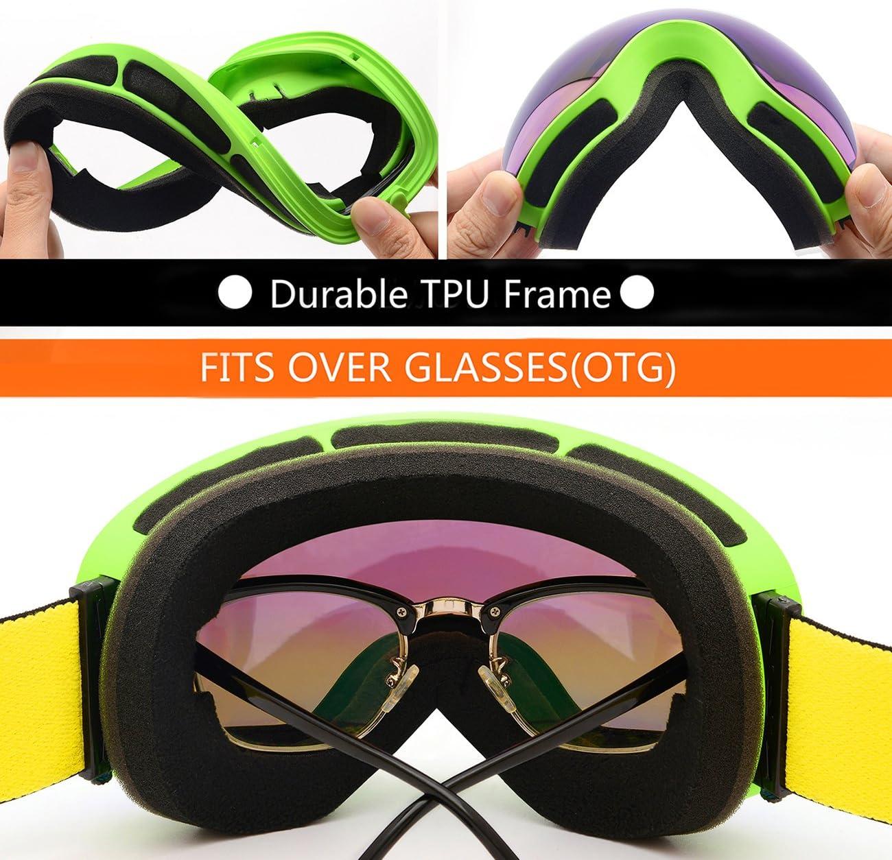 Snowboard Goggles UV Protection Hongdak Ski Goggles Snow Goggles Helmet Compatible for Men Women Boys Girls Kids Anti