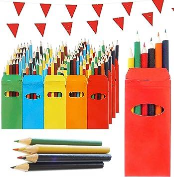 50 Sets de Lápices de Colores Infantiles Partituki. 6 Mini Lápices por Caja. 300 Lápices en Total. Con Guirnalda de 10 m. Ideal Fiesta de Cumpleaños Infantiles, Recuerdos de Bodas y Colegios: