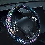 Bling Rhinestones Steering Wheel Cover with Crystal Diamond Sparkling Car SUV Breathable Anti-Slip Steering Wheel Protector (