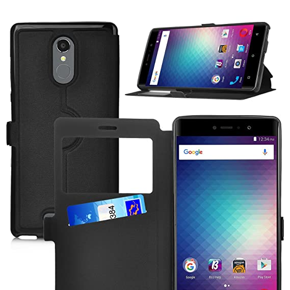 best service b3af6 55c5f BLU VIVO 5R case,KuGi BLU VIVO 5R case Ultra-Thin SCW Style PU Cover + TPU  Back Stand Case for BLU VIVO 5R Smartphone(Black)