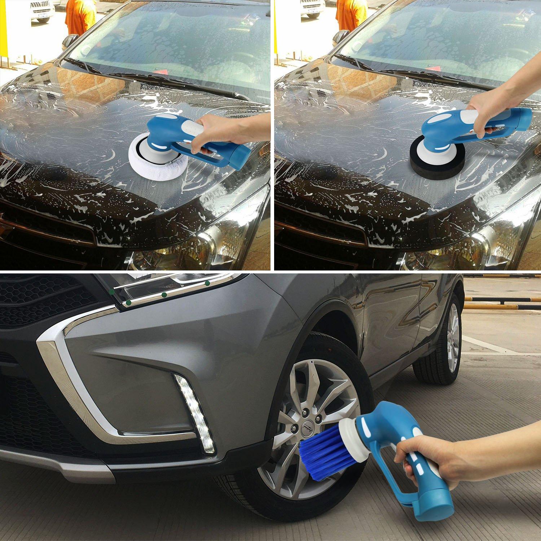 EVERTOP Poliermaschine Auto Reinigungsbürste, aufwiederbare Batterie, vielfaltige Funktionen Autopflege, Auto Poliermaschine , wasserdichte Schleifmaschine