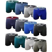 Boxers de Algodón Ajustados Clásicos de Colores Lisos, Cómodos y Suaves. Pack de 12 Calzoncillos. Colección UOMO