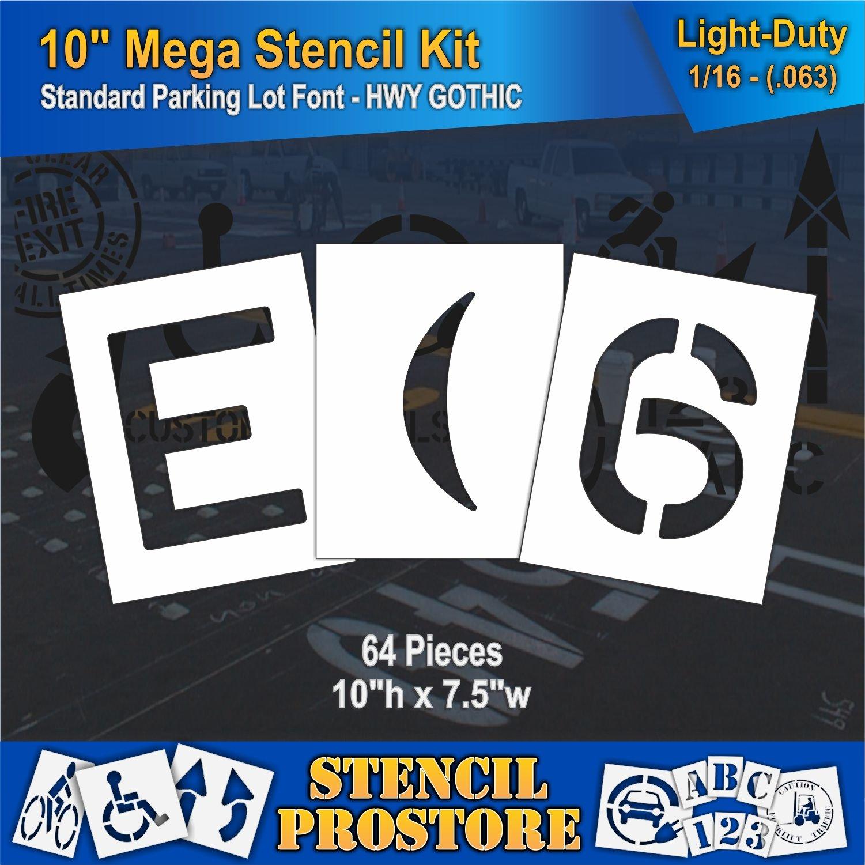 Pavement Stencils -10 inch MEGA Alpha/NUM Set - (64 Piece) - 10'' x 7.5'' x 1/16'' (63 mil) - Light-Duty