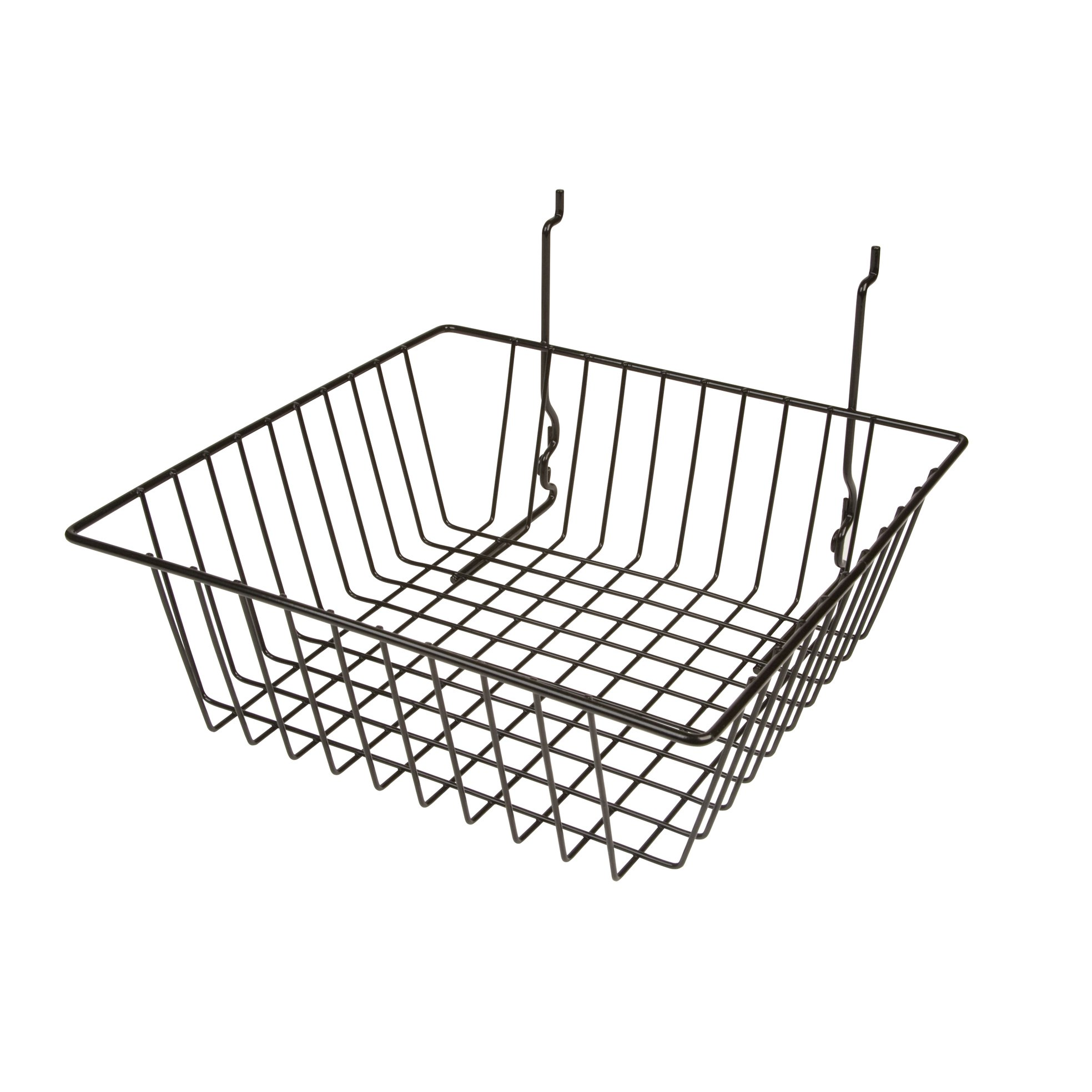 Only Garment Racks #5612BLACK (Pack of 6) Black Wire Baskets for Grid wall, Slat wall or Pegboard - Merchandiser Baskets, Black Wire Basket 12'' L x 12'' D x 4'' H (Set of 6) (Pack of 6)