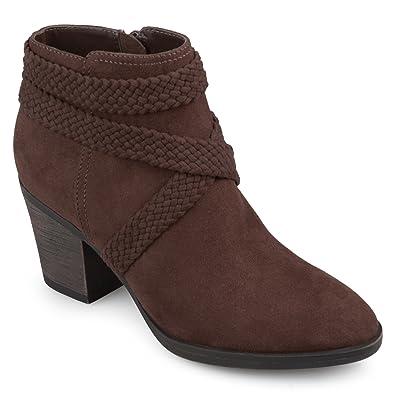 Womens Sadie Faux Suede Almond-Toe Crisscross Strap Booties