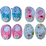 Honey Enterprise New Born Baby Cotton Booties (Multicolour, 0-6 Months) - Pack of 4 Pair