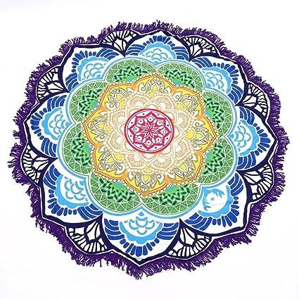 RAN Polígono Impresión De La Borla De Alfombra De Baño Redonda Toalla De Yoga Lotus Colorido