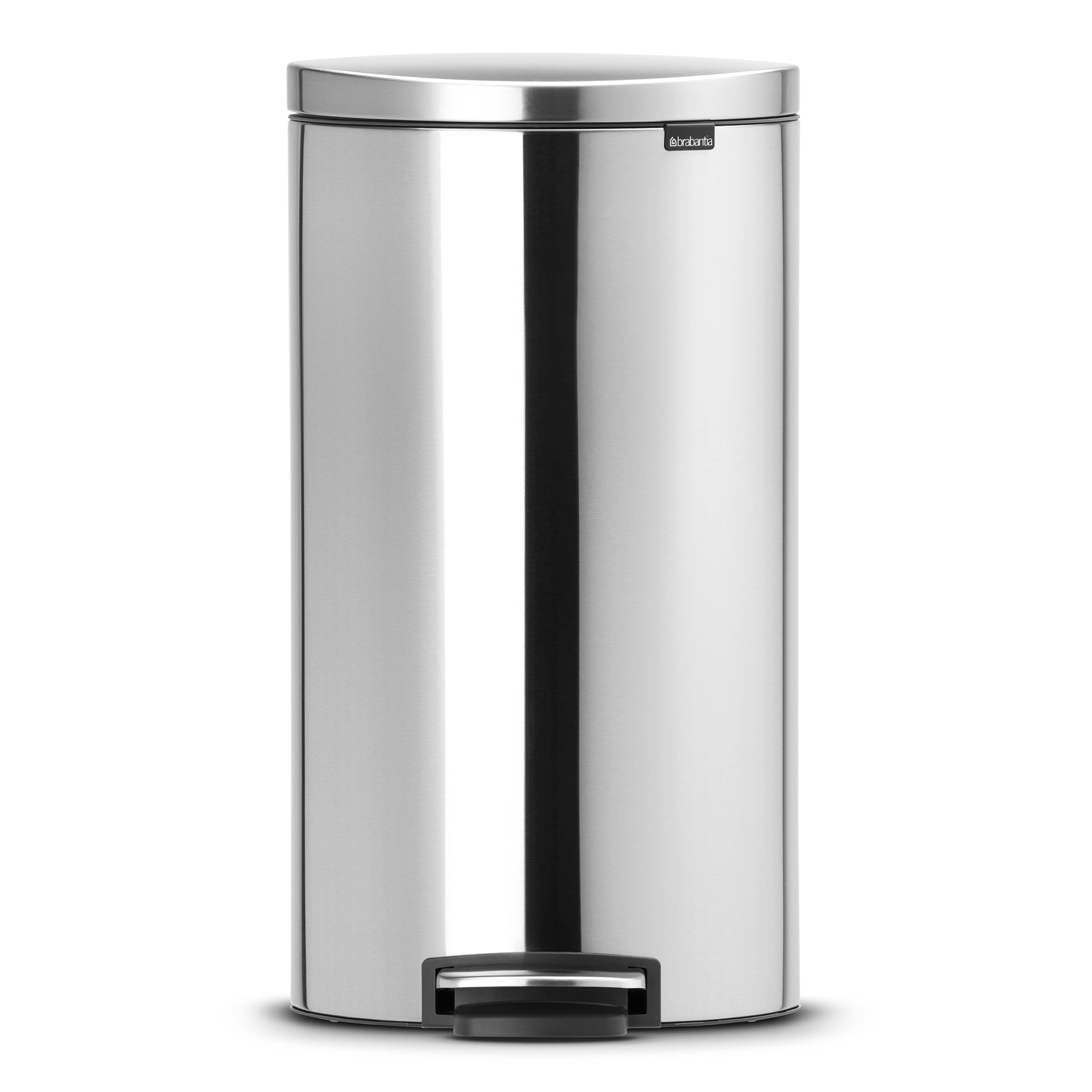 Brabantia FlatBack+ Step Trash Can, 7 Gal / 30L, Matte Steel Finger Print Proof