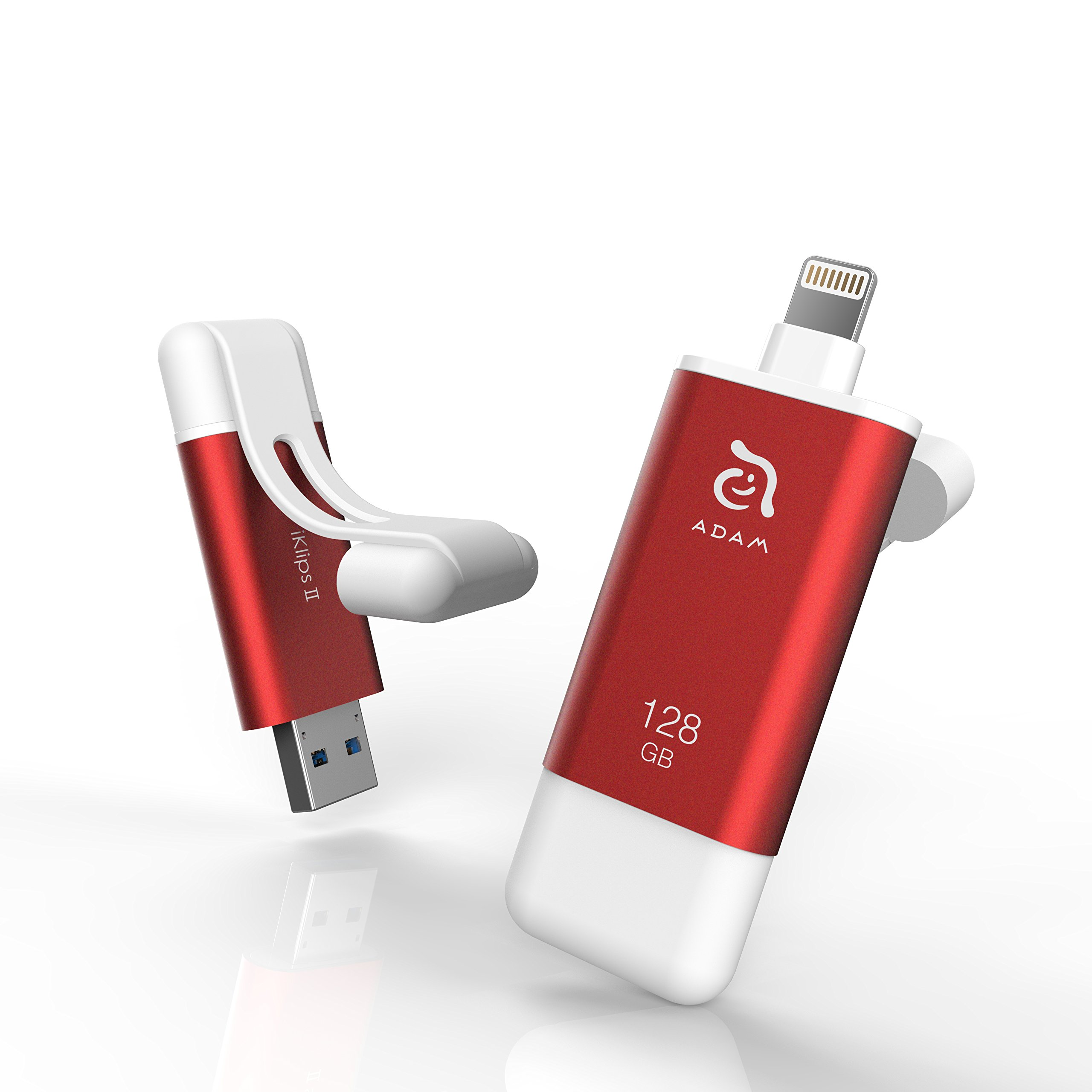 iKlips II 128GB USB 3.1 Lightning Flash Drive External Memory Storage, Extended Connector Fits With Any Case, For Apple, iPhone, iPad, Mac, iOS, Android & PC, MFi Certified, Red by Adam Elements