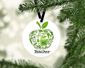 VinMea Ceramic Ornaments,Green Apple Teacher Ornament Keepsake Pandemic 3 Inch Christmas Porcelain