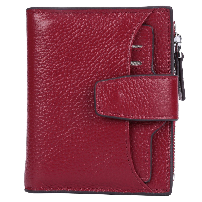 AINIMOER Women's RFID Blocking Leather Small Compact Bi-fold Zipper Pocket Wallet Card Case Purse (Lichee Wine)
