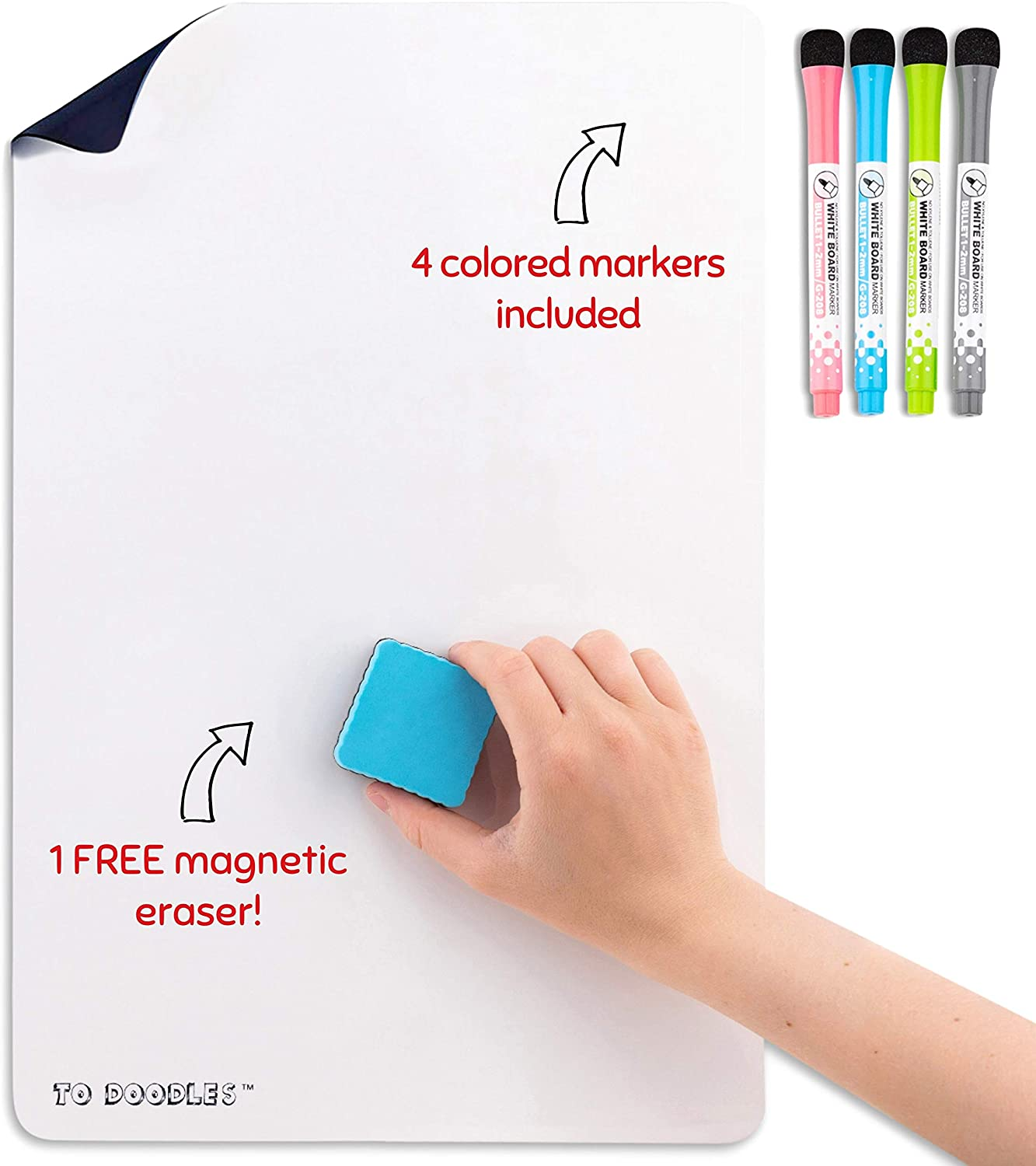 "Magnetic Dry Erase White Board Sheet for Kitchen Refrigerator 17"" x 11"" 
