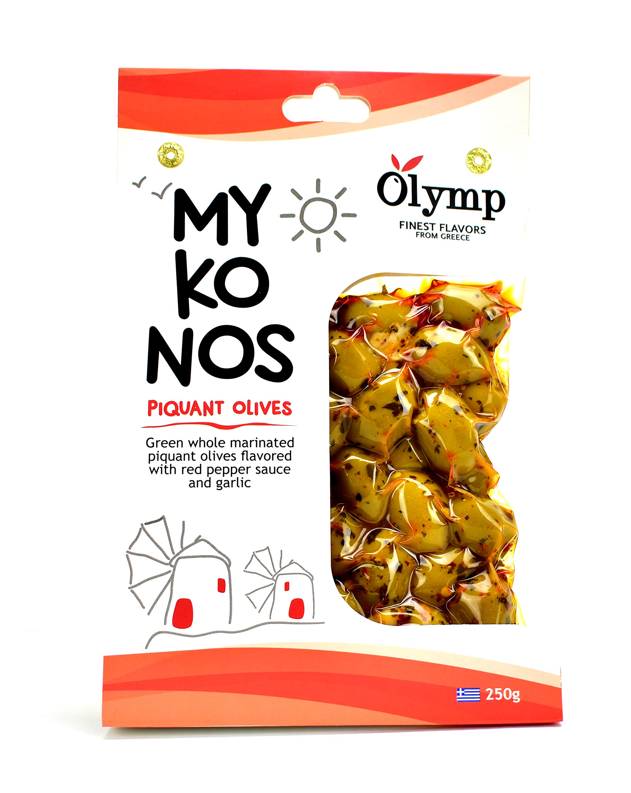 Greek Olives Marinated with Spicy Pepper and Garlic by Olymp | Mykonos Natural Green Whole Olives | 250gram
