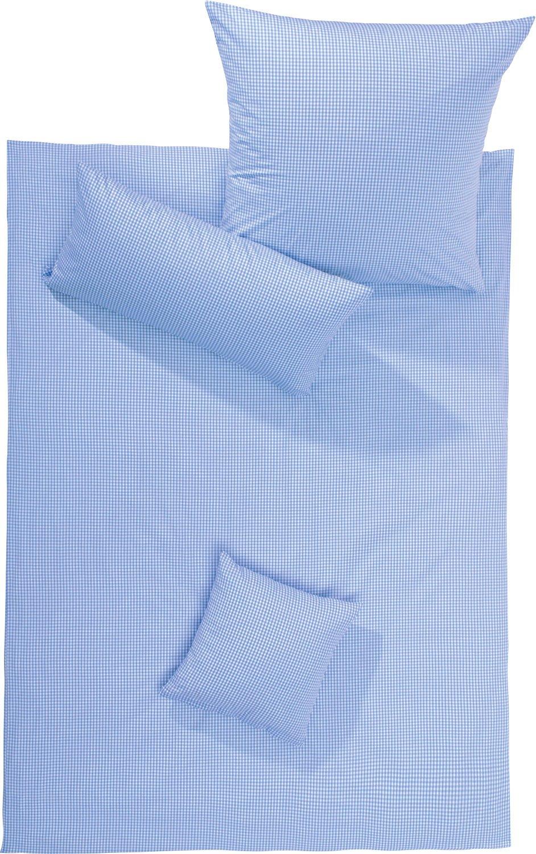 Lorena Bettwäsche Flanell buntgewebt hellblau-weiß Größe 135x200 cm (80x80 cm)