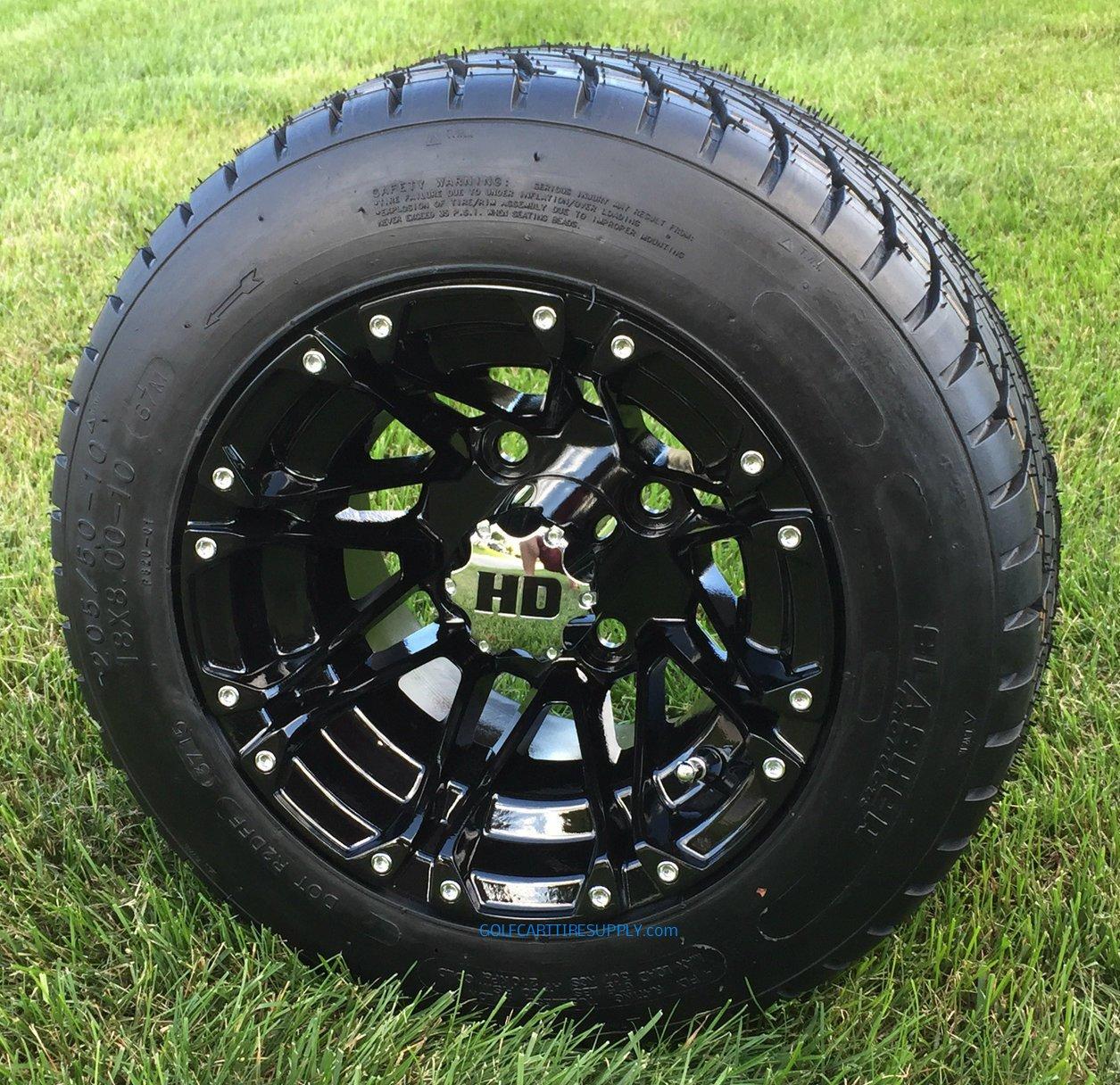 STI HD3 Black 10'' Golf Cart Wheels and Slasher GTX 205/50-10 DOT Golf Cart Tires Combo - Set of 4