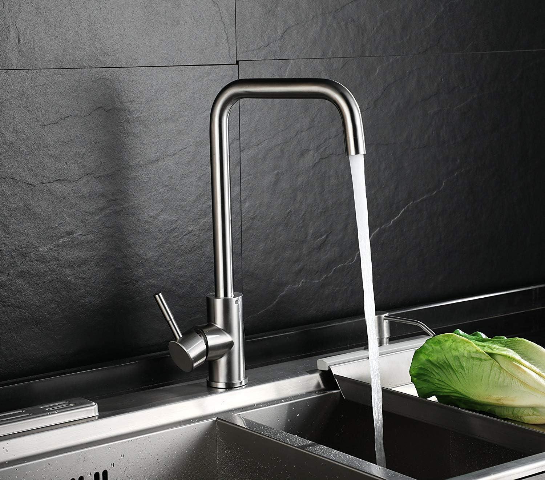 Homfa Wasserhahn 19° Drehbar Küche Einhebelmischer Spültisch Küchenarmatur  Wasserhahn Mischbatterie Spüle für Küchen 19/19 Zoll-Standard-Port