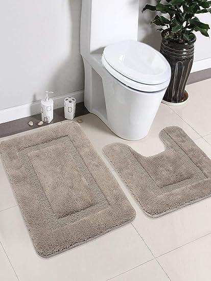 Saral Home Soft Cotton Anti Slip Bathmat Set with Contour- (45x60 cm & 45x50 cm), Grey