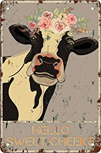 Funny Bathroom Metal Tin Sign Wall Decor - Hello Sweet Cheeks - Vintage Retro Cow Tin Sign for Farmhouse/Office/Home/Classroom Bathroom Decor Art Best Decor Gifts Ideas for Women Men Friends 8x12 Inch
