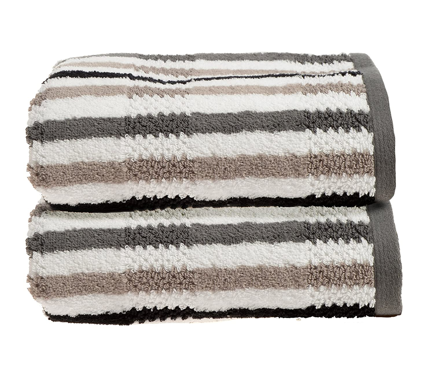 Allure Bath Fashions Luxury Towel in 100% Cotton California Collection 2 x Absorbent and Quick Dry Hand Towels Set 50 x 90cm 550gsm in Monochrome Silver Grey Black (2x Hand Towels)
