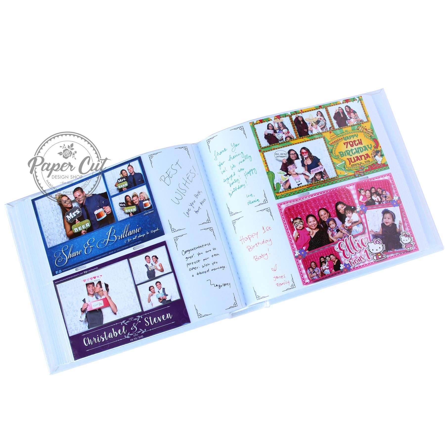 Paper Cut Design Shop Photo Booth Album Slip-in Plastic Slots with Keepsake Box Elegant Leatherette Album 4x6 Photos - White by Paper Cut Design Shop