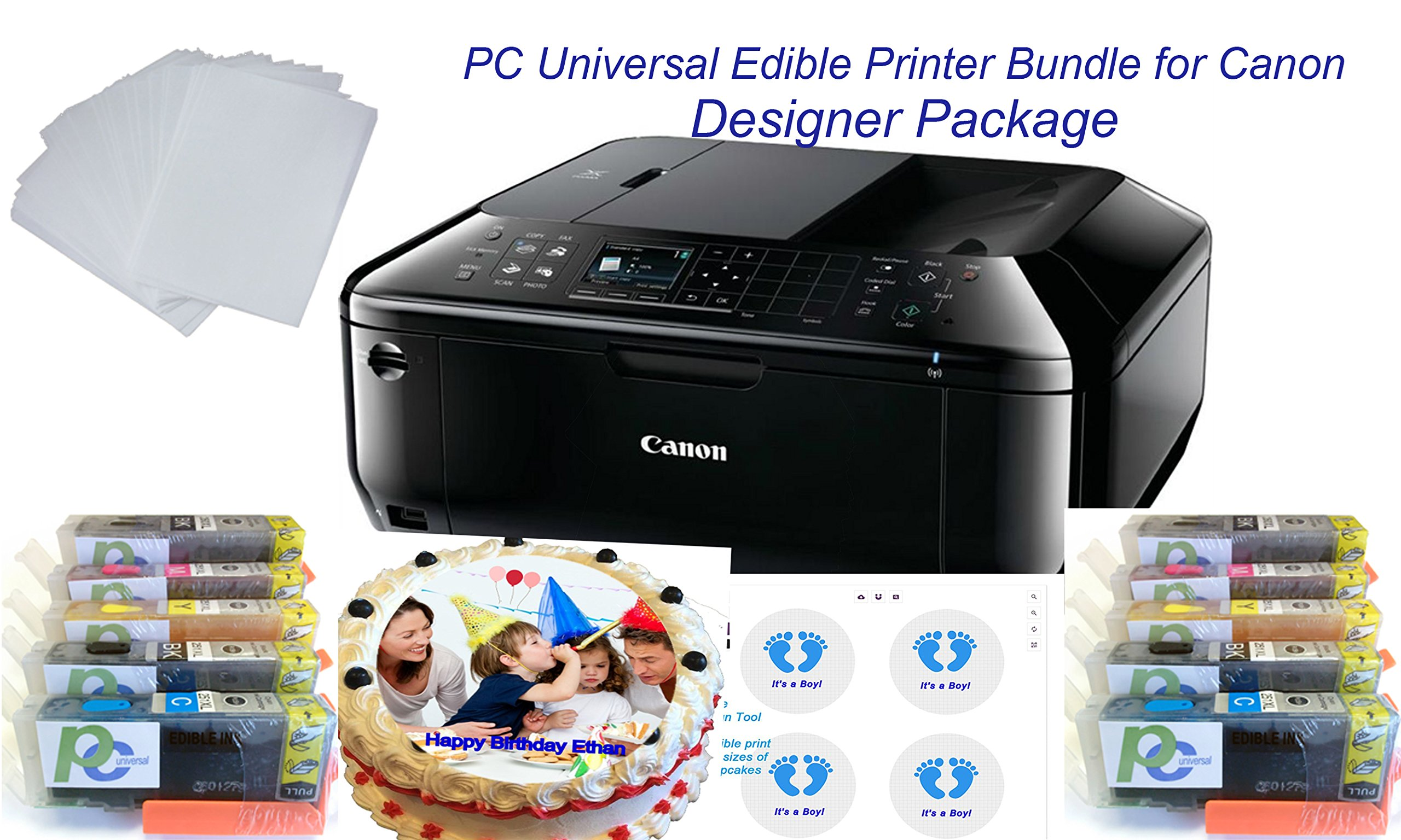 PC Universal Edible Printer Bundle- Designer Package- with 2 Sets of Edible Inks + 30 Assorted Frosting and Wafer Sheets+ 1 YR Cloud Base Design Tool