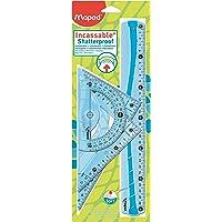 Maped Maxi Kit de Traçage INCASSABLE avec 4 Pièces Règle 30cm, Rapporteur 180°/12cm, Equerre 60°/21cm, Equerre 45°/21cm - Coloris Aléatoire Bleu ou Vert