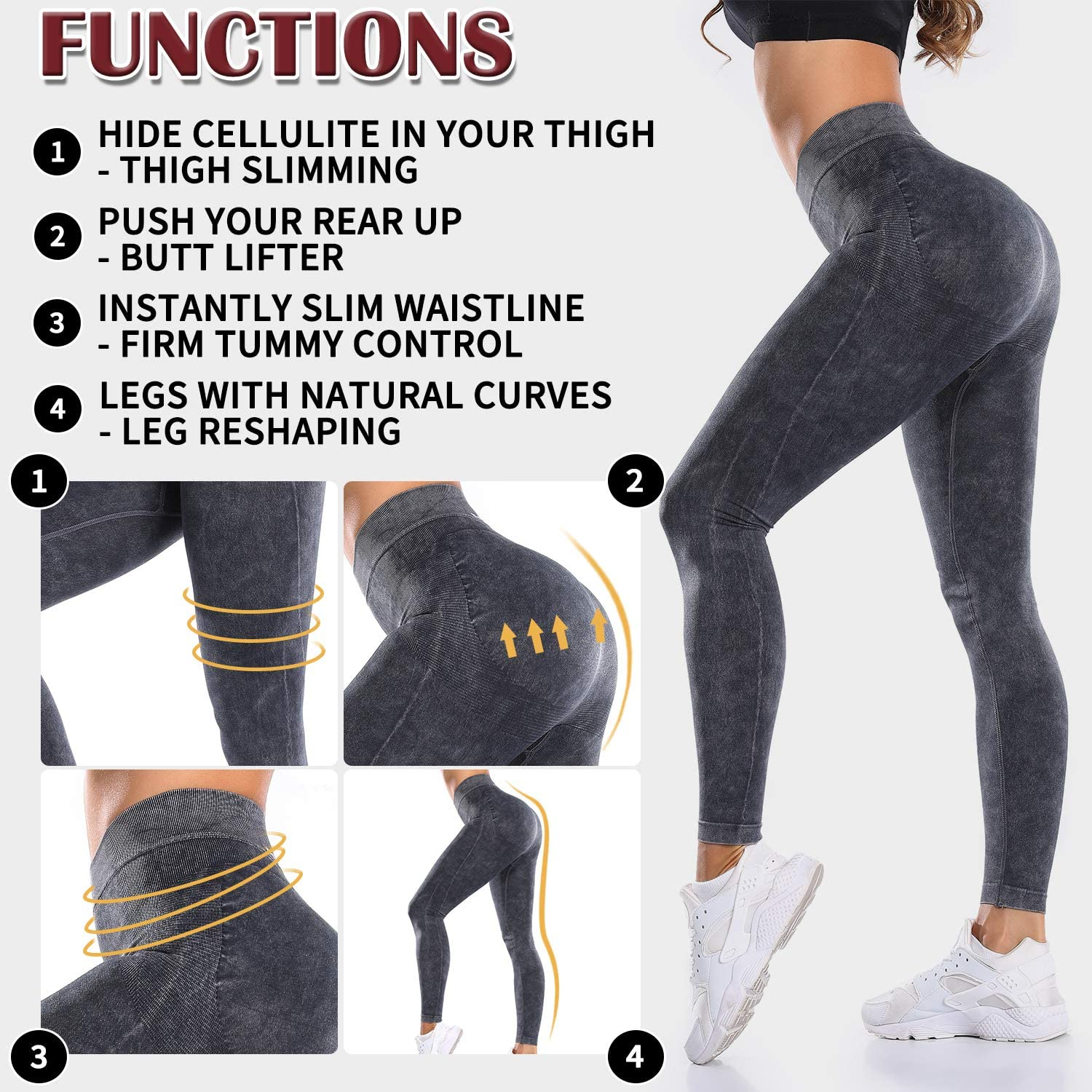 MISS MOLY Women High Waist Ankle Length Leggings Workout Stretchy Yoga Pants Butt Lift Compression Tights