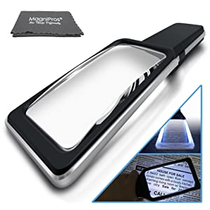 MagniPros Magnifying Glass with [10 Anti Glare & Dimmable LED Lights] 3X+5X Dual Power Lens-Ease Strain Eyes & Provide Evenly Lit Viewing Area for Reading, Low Vision, Seniors, Macular Degeneration